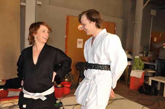 Tatiana Vilhelmová a Kryštof Hádek natáčeli spot Českého lva v kimonu.
