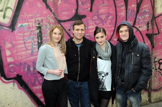 Kružíková, Vorel jr., Josefíková a Mádl po projekci filmu Vejška