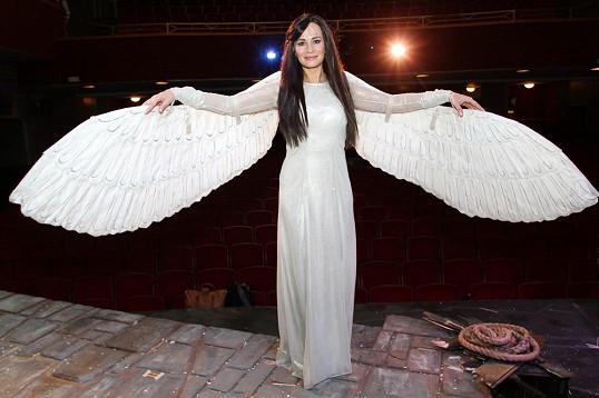 Anděla s dlouhými tmavými vlasy