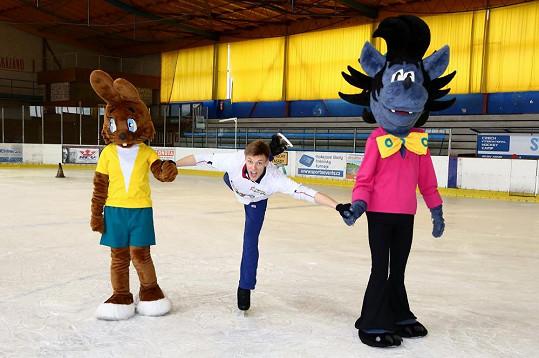 Verner trénuje na ledovou show Jen počkej, zajíci!