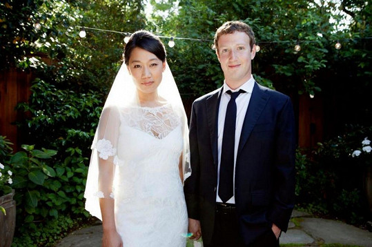 Mark a Priscilla na svatební fotce