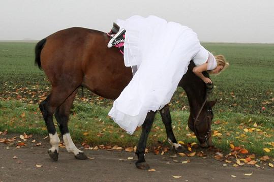Modelka ale neudržela balanc, když dostal koník chuť na kus trávy.