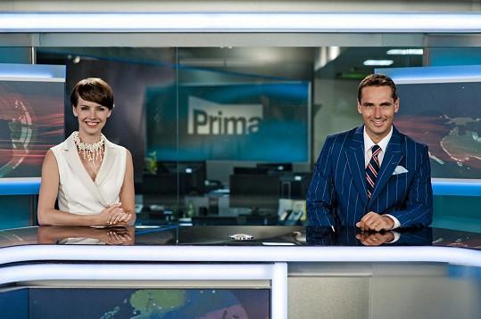 Gábina a Roman v televizním studiu