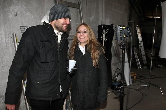 Lucia Gažiová s manželem Petrem Svobodou při natáčení
