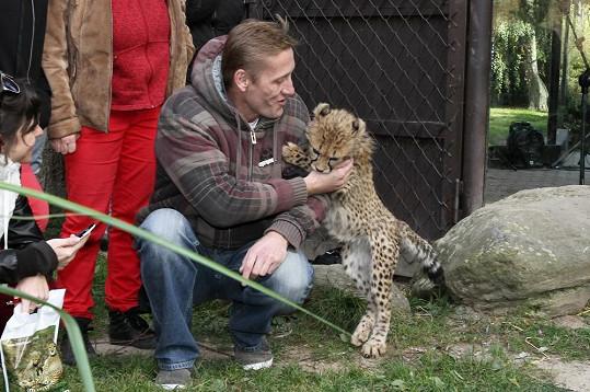 I Jiří si s gepardem vyhrál.