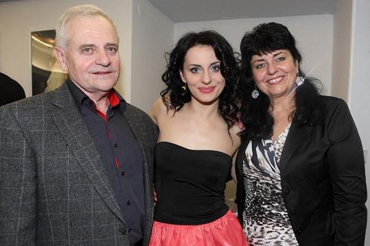 Markéta s rodiči po představení