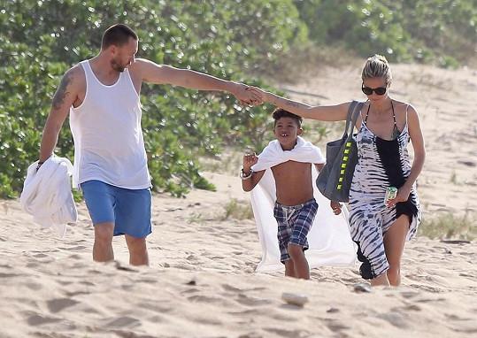 Heidi Klum, syn Henry a její přítel Martin.