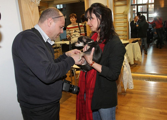 Zraněného pejska ošetřil hereččin kamarád, veterinář Roman Kvapil, který ji přivedl k projektu Maratonem proti roztroušené skleróze.
