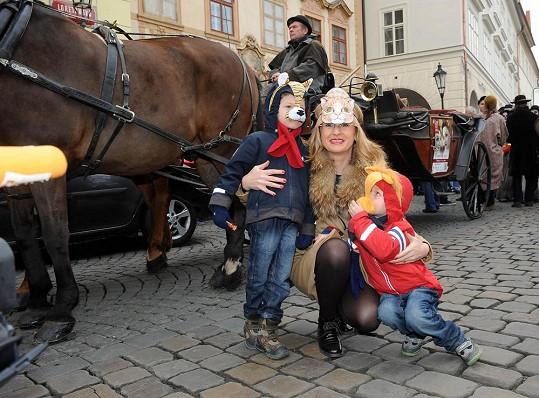 Štěpánka Duchková svoje dvojčata oblékla za zvířátka.