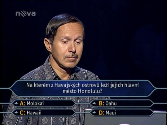 Pavel Judas vyhrál jako jediný v soutěži Chcete být milionářem? 2,5 miliónu korun.