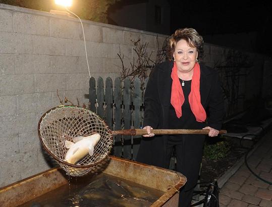Jiřina Bohdalová si lovila zlatou rybku.