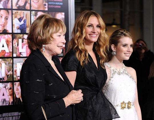 Julia Roberts s neteří Emmou a herečkou Shirley MacLaine