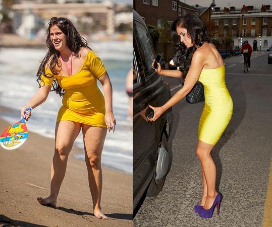 Vicky před a po loňském hubnutí