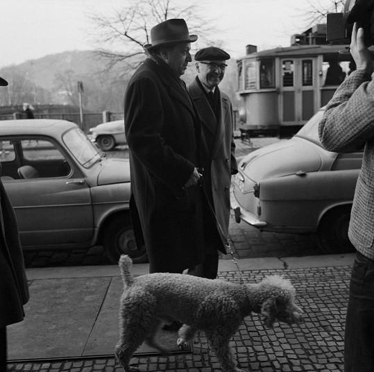 Hugo Haas na procházce Prahou s milovaným psem Dodouškem