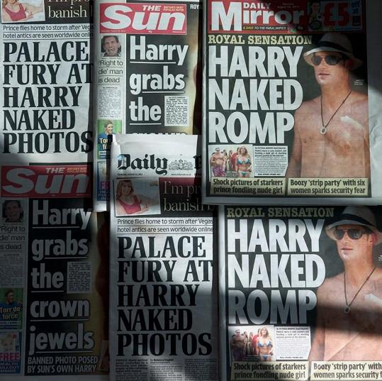 Princ Harry jeden čas okupoval titulní strany britského bulvárního tisku.