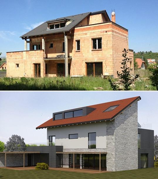 V horní části vidíte, jak budova vypadá nyní. Ve spodní je vizualizace budoucí podoby.