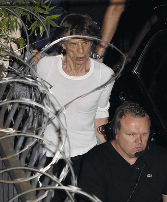 Mick Jagger před koncertem v Los Angeles.