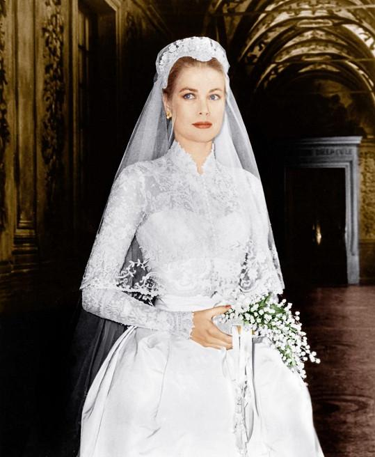 Grace Kelly ve svůj svatební den.