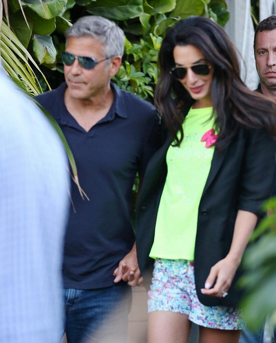 Clooney se svou nastávající Amul Alamuddin.
