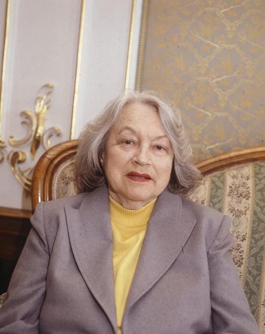 Adina Mandlová krátce před smrtí. Zemřela 16. června 1991.