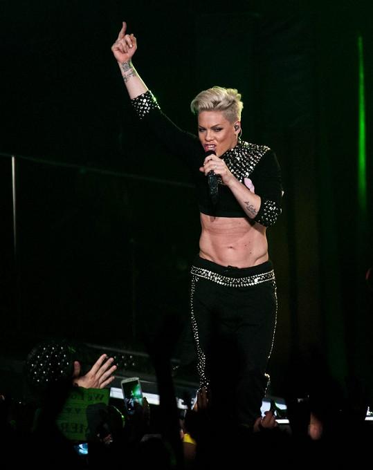 Pink na koncertě v Paříži.
