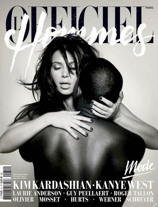 Kim Kardashian a Kanye West na obálce časopisu L´Officiel Hommes.