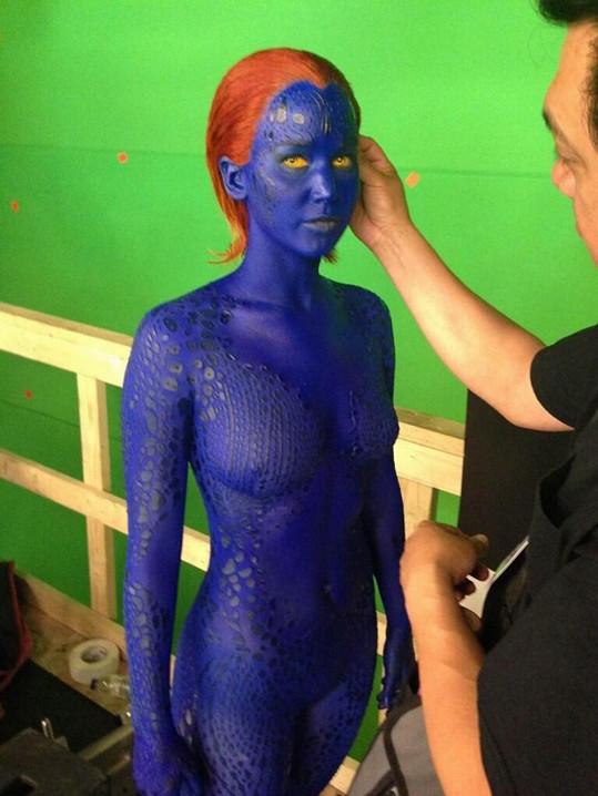 Jennifer Lawrence v právě natáčeném filmu X-Men: Days of Future Past.