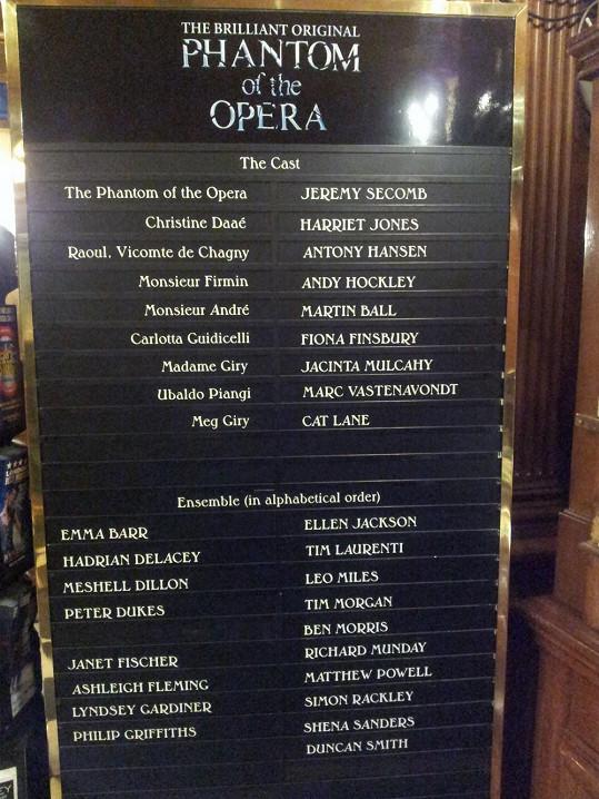 Program londýnského Fantoma opery