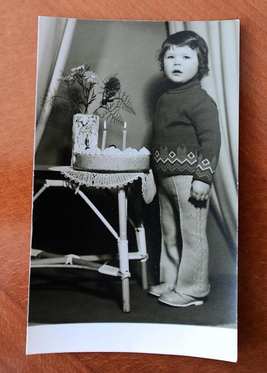Jaromír Jágr jako dvouletý chlapec.