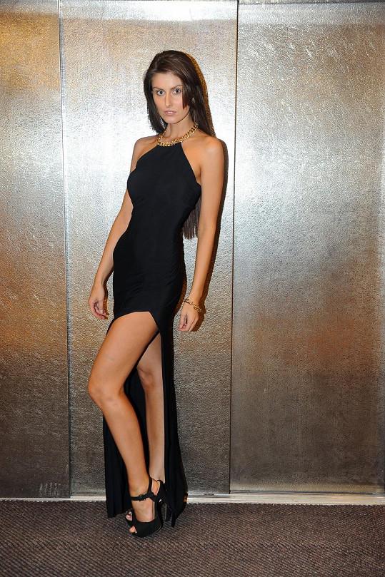Sandra v sexy šatech.