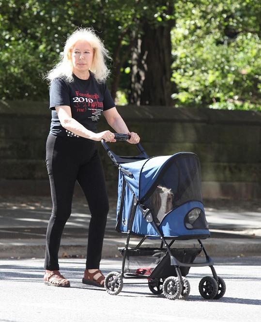 Herečka vozí pejska po parku v New Yorku v kočárku.
