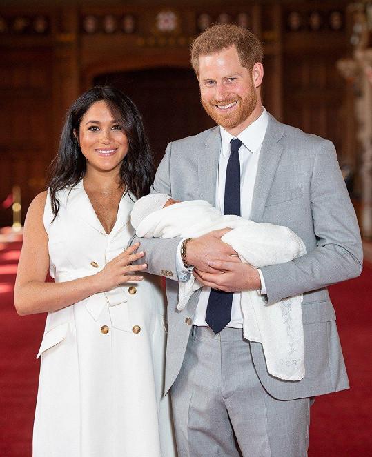 Vévodkyně ze Sussexu s manželem Harrym a synem Archiem