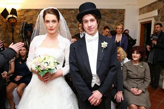 Martin Kraus při svatbě s Lenkou Zahradnickou