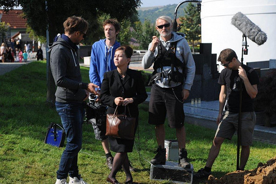 Mihulová během natáčení