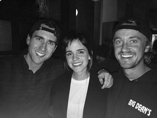 Zleva: Matthew Lewis, Emma Watson, Tom Felton