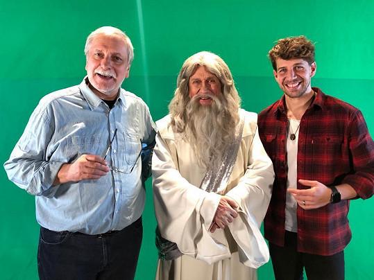 S režisérem Zdeňkem Zelenkou a hercem Peterem Pechou při natáčení
