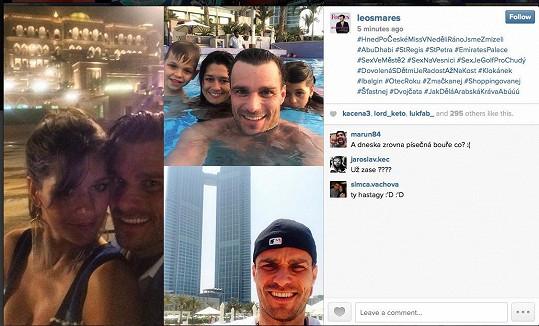 S momentkami z dovolené se Leoš pochlubil na Instagramu. Fotky neopomněl tradičně označit vtipnými klíčovými slovy.