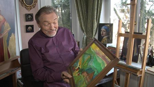 Karel Gott ukázal obraz, který namalovala jeho dcera Nellinka.