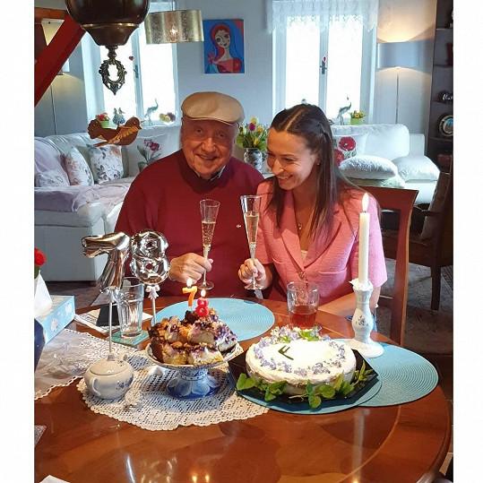 Jedna z oslav proběhla za přítomnosti jeho expřítelkyně Lucie Gelemové.