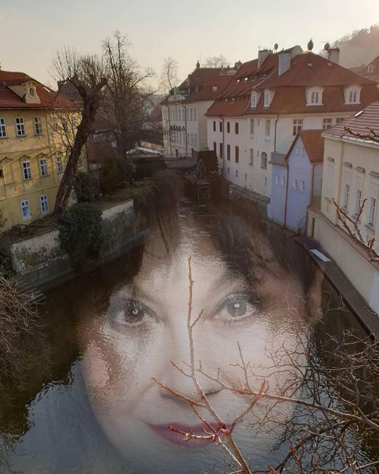 Z fotek Prahy s jejím obřím obličejem přechází zrak.