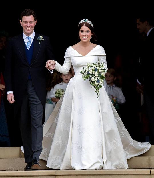 Princezna Eugenie si Jacka Brooksbanka vzala v říjnu roku 2018.