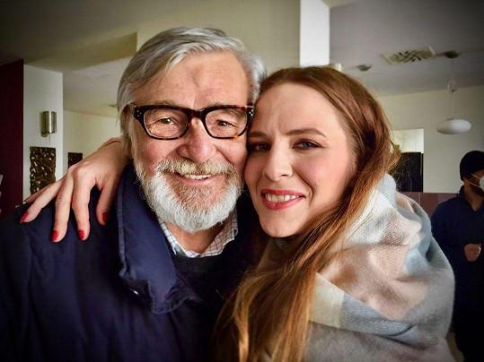 S Jiřím Bartoškou na natáčení Teorie touhy