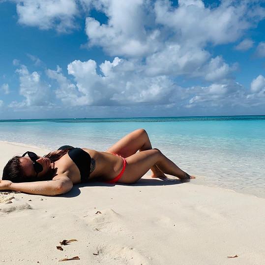 Bronz chytala na plážích ostrova Aruba.