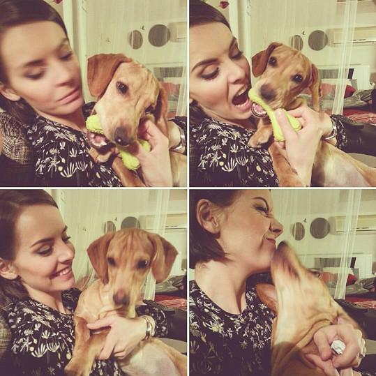 Gábina se svým psím miláčkem