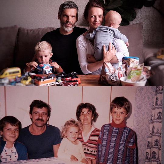 Tyto dvě fotky dělí skoro třicet let. Dole Andrea s rodiči a sourozenci, nahoře se svými chlapci, manželem Mikolášem a syny Tobiášem a mladším Jáchymem