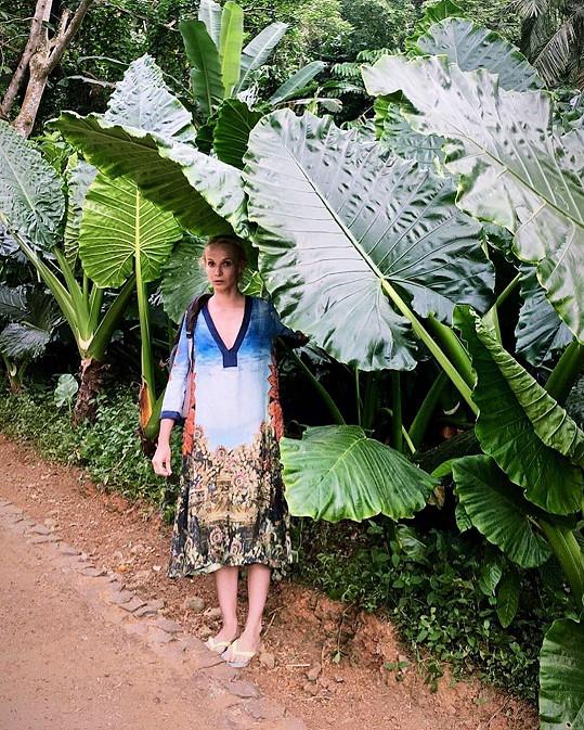 Před deštěm se v džungli schovává pod obrovskými listy.