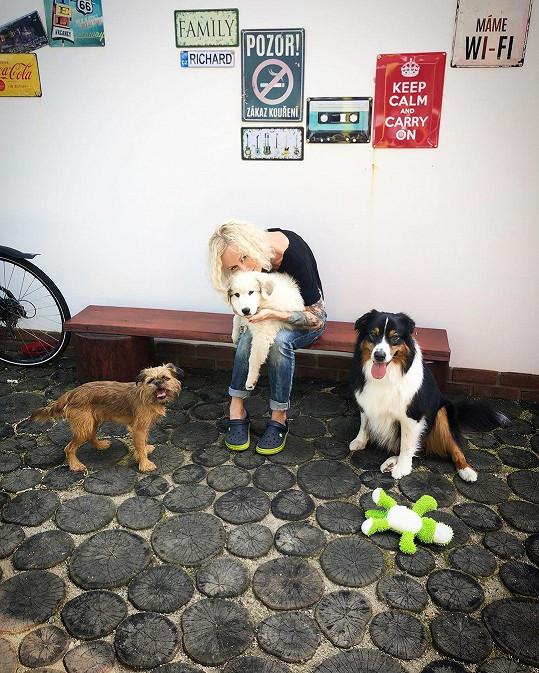 Karin nedávno ke dvěma pejskům dostala štěňátko pyrenejského horského psa.