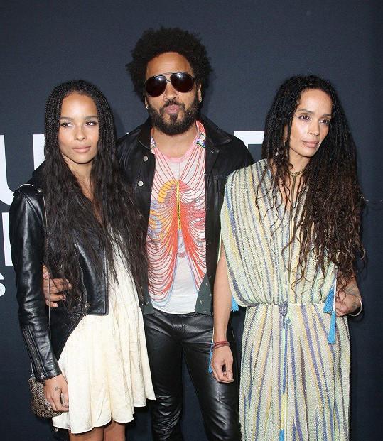 Lisa Bonet se svým exmanželem Lennym Kravitzem a jejich dcerou Zoë