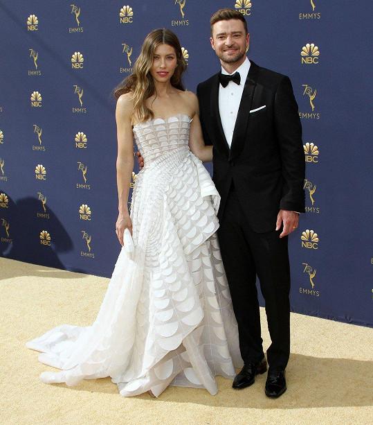 Jessica Biel dorazila s manželem Justinem Timberlakem.