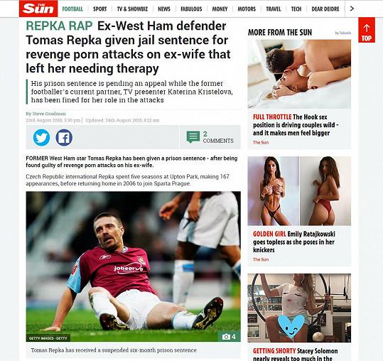O bývalém hráči West Ham United FC psali v The Sun.
